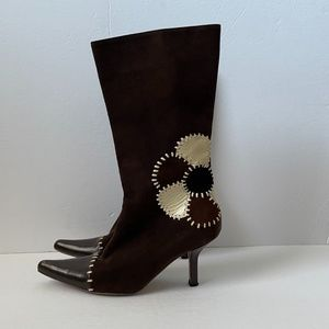 Marni Brown Suede Floral Heel Boots, 6.5